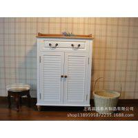 田园实木面多层鞋柜 白玄关柜带抽屉双门储物收纳柜整装
