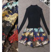 2014年秋冬新款女装欧洲站针织毛衣拼提花下摆修身连衣裙Z1843