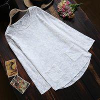 AJ  日系森林系森女清新绣花文艺范长袖衬衣 纯棉布绣花白衬衫