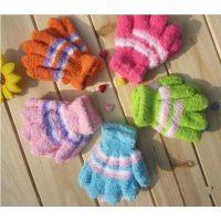 加厚保暖儿童魔术手套  毛圈手套 混色毛巾儿童手套 全指手套批发