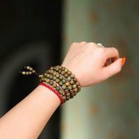 正品天然素款绿檀佛珠手链 0.8cm108 檀木手串饰品批发