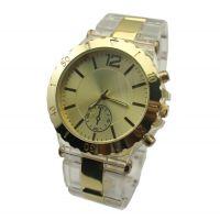 透明塑胶间金属男士手表 新款创意时尚男士手表 双按制塑胶手表
