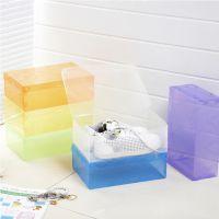 彩色透明水晶鞋盒 pp塑料鞋盒 收纳盒 创意可折叠翻盖女鞋盒