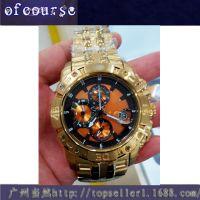 全球热销金色 橙色面时尚商务手表 ebay 速卖通爆款男士高档表