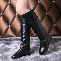 2014秋季靴子女靴新款潮女单靴 平底欧美长筒靴 女士高筒皮靴批发