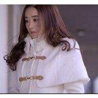 杉杉来了赵丽颖同款毛呢外套大衣韩版女装修身斗蓬毛领