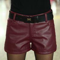 2014韩版新款中腰显瘦修身提臀女士pu皮裤皮短裤子实拍J536