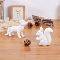 混批日式杂货陶瓷装饰品 创意白瓷小松鼠和小狐狸迷你花盆装饰
