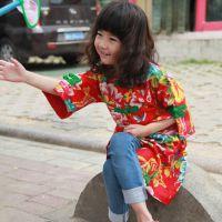 原创童装--中式民族长款外套--棉衣/夹衣--嫣红
