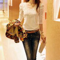 热销货源秋装新款韩版女上衣修身打底衫 蕾丝拼接长袖套头蕾丝衫