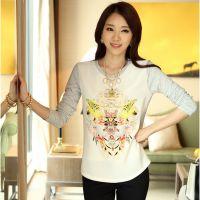 2014韩国代购大码女装 钉珠镶钻百合花女式拼接撞色打底衫女t恤