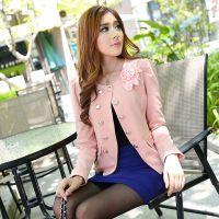 秋装新款小西服外套女装韩版修身小西装短款耸肩J055一件代发