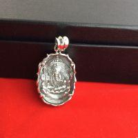 925纯银弥勒佛白水晶吊坠项链 复古做旧泰银象鼻神挂坠 男女