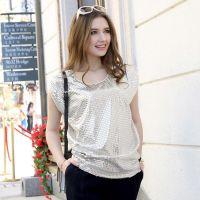 欧洲站2014夏新款女装亮片宽松打底衫圆领短袖T恤女上衣H142A026
