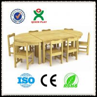 【厂家直销】 幼儿园儿童实木桌椅组合 原木8人桌 广州奇欣QX-196A