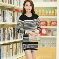 2014秋季毛衣新款韩版针织衫中长款低领细条纹修身套头女打底衫