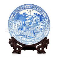 景德镇陶瓷挂盘 青花瓷十二金钗现代 家居装饰盘摆件工艺品