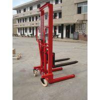 加工定制手动液压堆高车 宽腿式堆高车 手动装卸车 手动叉车