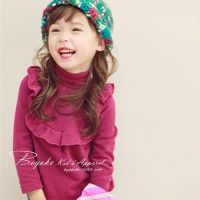 卡哇伊童装D秋装女童高领长袖 打底衫韩版儿童中小童木耳边T恤