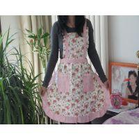 专业生产韩式围裙 纯棉双层加厚款 蕾丝花边女士居家时尚围裙批发