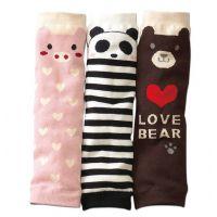 002外贸日单儿童袜套 熊猫造型纯棉婴儿护膝 婴儿袜套长护膝批发