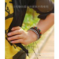 【小额饰品批发】厂家直销民族风情之皮革编织手链(3个)批发