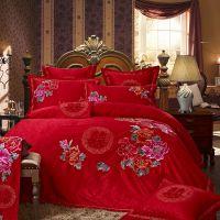罗莱家纺婚庆床品批发 全棉贡缎提花床上用品四件套 纯棉套件礼品