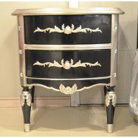 诗兰朵热卖 欧式黑加香槟银储物床头柜 银箔手工雕刻床头柜