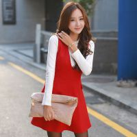 韩国连衣裙 2014冬装新款修身深V领打底毛呢背心裙打底衫两件套