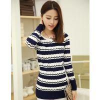 2014秋装新款韩版针织衫女 中长款长袖条纹套头打底衫