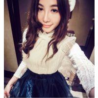 新品2014冬季女装174#韩版范唯美珍珠蝴蝶结蕾丝打底衫上衣