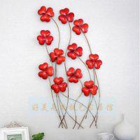 铁艺红花丛壁饰欧式田园墙壁挂件创意家居彩绘墙饰特价清仓