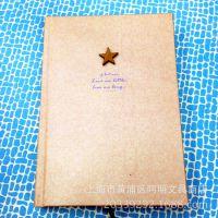 复古系列简洁木纹硬抄本笔记本 红五星 红色记忆高档随身日记简爱