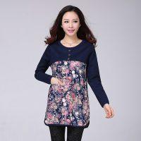 2014冬装新款韩版大码女装中长款打底衫 胖mm印花加绒显瘦上衣