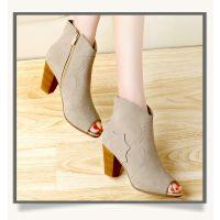 供应2014新款女鞋粗高跟鱼嘴侧拉链休闲凉靴 星星的你同款时尚真皮鞋