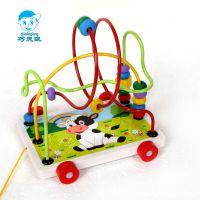 特价 卡通动漫智力绕珠拖车 儿童早教益智木制玩具 木质动物串珠