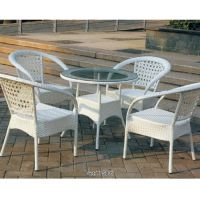 批发户外家具庭院桌椅组合 时尚休闲仿藤桌椅餐桌椅outdoor furniture 藤桌椅
