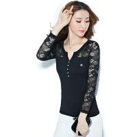 2014秋季新款大码女装蕾丝拼接钉珠长袖女T恤 秋季打底衫