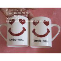 【厂家直销】笑脸陶瓷杯 早餐杯 牛奶杯 带勺杯 日用陶瓷餐具批发