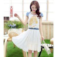厂家直销韩版时尚修身显瘦撞色雪纺短袖连衣裙 印花百褶裙长裙女
