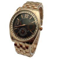字面镶钻玫瑰金套装手表 男士运动手表 时尚防水环保手表 带钻表
