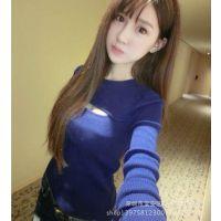 供应包邮 胸部镂空针织衫2014秋季新款韩版性感甜美针织衫打底衫长袖