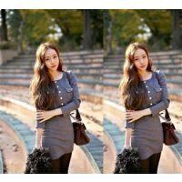 一件代发2014新款韩版时尚修身针织罗纹条连衣裙女士 长款打底衫