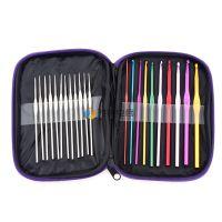 速卖通热卖 批发(紫色)编织工具针织钩针套装 彩色金属铁钩针22根