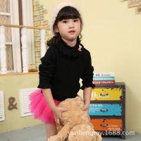 新品冬季女童韩版针织衫童装 高领长袖中大童 木耳领打底衫B9464