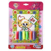 雪花泥彩胶画 6色儿童彩泥画 益智玩具 安全无毒 带彩色塑料框