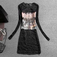 2015年新款 中长款针织拼接长袖蕾丝衫打底衫