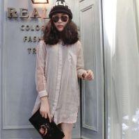 2015春装新款韩版女式衬衫中长款长袖翻领口袋打底衫纯色百搭衬衫