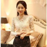 蕾丝衫女长袖2014秋装新款韩版女装蕾丝打底衫女长袖上衣