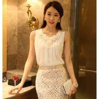 2014春季新款韩版无袖背心吊带打底衫褶皱白色雪纺衫